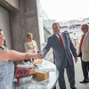 Prince Albert II of Monaco greets an Ohio Stadium staff member while learning about the facility's Zero Waste initiative on Wednesday, August 31, 2016.