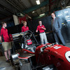 Prince Albert II of Monaco visits with student members of Ohio State's Formula Buckeyes, a student organization that designs, builds and races a formula-style race car.