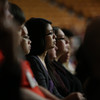 Students listen intently during the #BuckeyeStrong event at St. John Arena.
