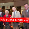 Annie and John Glenn pose with Ohio State President Michael V. Drake (left) and board chair Jeffrey Wadsworth during the dedication of Glenn Ave. on Nov. 5, 2015.