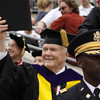 John Glenn acknowledges the crowd during Spring Commencement 2009 at Ohio Stadium.