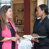 Margot Lee Shetterly (right) speaks with Nicole Nieto, program manager for Ohio State ADVANCE, which promotes the recruitment, retention, and advancement of women faculty in STEM fields at the university.