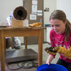Student Rachel Windbigler sifts through the composted material during a team project meeting.