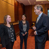 Gemma converses with Ohio Senator Sherrod Brown at his constituent meet and greet.