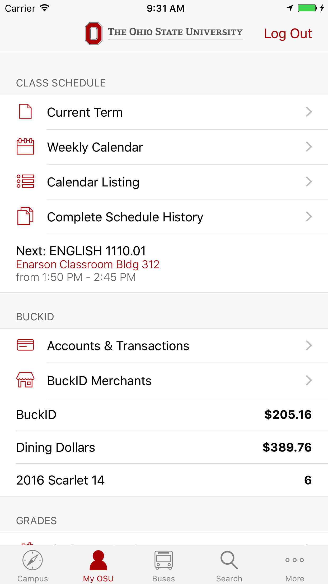 Academic Calendar Osu.The Official Ohio State App Features Include Your Grades Class