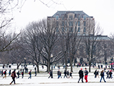 Oval in winter facing Thompson library