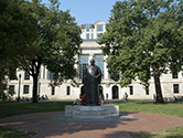 View of Thompson library with W.O. Thompson statue