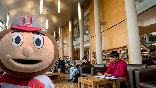 Brutus Buckeye in Thompson Library