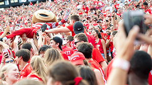 Brutus Buckeye crowd surfs among fans