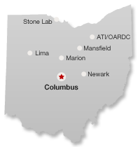Map of Ohio State regional campuses