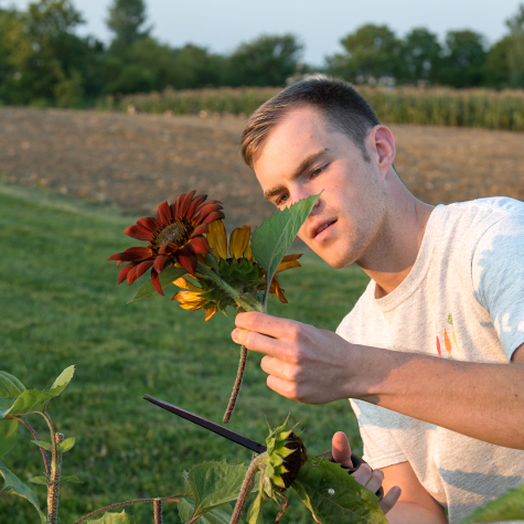 Jeff Laubert with a flower