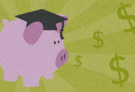 illustration of a piggy bank with a graduation cap