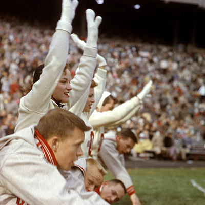 Ohio State cheerleaders in 1957 at the homecoming game against Purdue